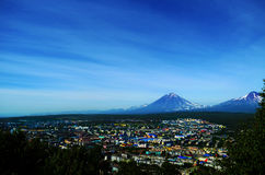 Grandi vulcanos di Kamchatka Immagini Stock