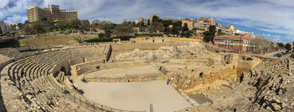 The grandios amphitheater, a construction of the past centuries Stock Photo