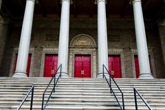 A grandiose entrance to a large church royalty free stock photography