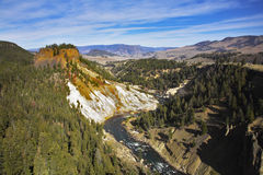 Grandiose landscape. Woody canyon of the river in well-known Yellowstone park. More magnificent pictures from the American and Canadian National parks you can Stock Photos