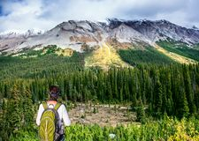 The grandiose landscape of the Rockies. Of Canada. The experienced woman - tourist with a backpack standing in front of a snow-capped mountain. The concept of Stock Photos