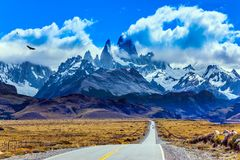 The grandiose Mount Fitz Roy. Summer day in Patagonia. Fine highway to the grandiose Mount Fitz Roy. The concept of active and extreme tourism. The Andean Stock Images