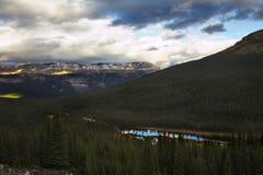 Grandiose mountain  landscape. Grandiose mountain Canadian landscape in autumn paints Royalty Free Stock Images