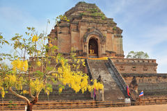 Grandiose ritual construction. The step pyramid in which is the huge gold Buddha. Grandiose ritual construction in Thailand Stock Images