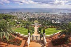 Grandiose solemn landscape. Bahai sacred places, Haifa and Mediterranean sea Stock Photo