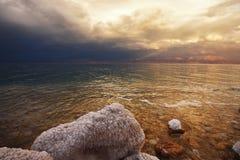 Grandiose spring thunder-storm. On the Dead Sea Stock Photos