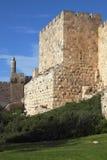 Grandiose Tower of David. Grandiose walls of Jerusalem and the Tower of David Stock Image