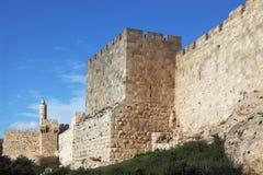 Grandiose walls of Jerusalem. And the Tower of David Royalty Free Stock Image