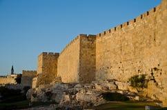 Grandiose walls of Jerusalem. At sunset Stock Images