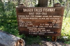 GRANDJEAN, IDENTITEITSKAART: Teken voor Dagger Falls Fishway die grootte en statistieken van watergebruik en kosten geven royalty-vrije stock fotografie