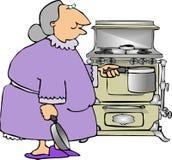 grandma μαγειρέματος διανυσματική απεικόνιση
