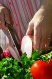 grandma μαγειρέματος Στοκ Εικόνα