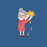 Grandma με τη χρυσή piggy τράπεζα απεικόνιση αποθεμάτων