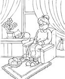 Grandma. Black-and-white illustration (coloring page): granny sleeps in an armchair Stock Images