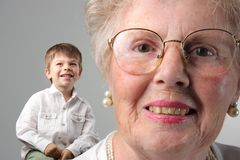Grandma. A grandma with your grandson royalty free stock photo