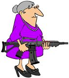 Grandma with an assault rifle. This illustration depicts an old woman carrying a black assault rifle Royalty Free Stock Images