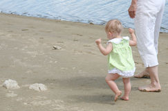 Grandma and Baby. A grandma walking with her grand-daughter on the beach royalty free stock image