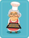 Grandma Baking Chocolate Chips Cookies Vector Illustration Stock Image