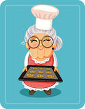 Grandma Baking Chocolate Chips Cookies Vector Illustration. Vector  illustration a cute granny with a tray of sweets Stock Image