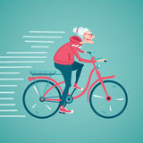 Grandma on a bike. The old woman is riding a bicycle. Cartoon vector illustration. Character design Stock Photo