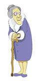 Grandma with cane. Grandma In Violet Coat with Fur Collar and with cane Royalty Free Stock Photo