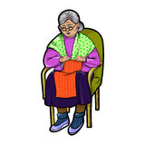 Grandma in Chair knits. Vector illustration Royalty Free Stock Image