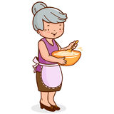 Grandma cooking. An old woman, holding a bowl and cooking stock illustration