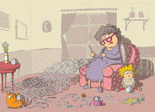 Grandma Crochet Maze Game. Hand drawing with background on separate layer. Task: which wool-ball leads to grandma? Solution: cat's wool-ball! Illustration is Stock Photography
