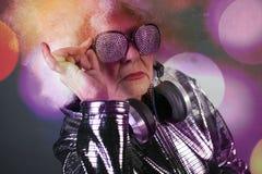 Grandma DJ στοκ φωτογραφίες