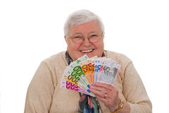 Grandma with euros Royalty Free Stock Photo