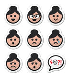 Grandma face, woman with bun hair  icons set Stock Photo