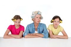 Grandma and girls with funny hair Royalty Free Stock Photo