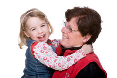 Grandma with grandchild. Full isolated studio picture from grandmother with grandchild royalty free stock images