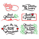 Grandma and grandpa handwritten lettering. Grandparents day set. Royalty Free Stock Photo