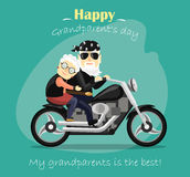 Grandma and grandpa riding a motorcycle Stock Photos