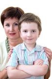 Grandma with grandson. Grandmother with her grandchild, on white Royalty Free Stock Image