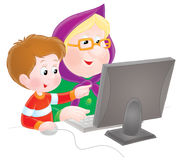 Grandma and grandson. Isolated clipart illustration of a grandmother and grandchild sitting in front of a computer monitor Royalty Free Stock Images
