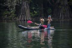 Grandma and Grandson - Kayaking Morrison Springs Stock Images