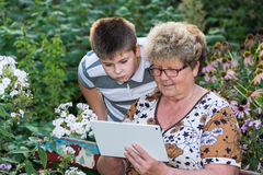 Grandma with  grandson watching tablet PC Royalty Free Stock Photo