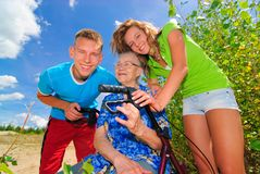 Grandma and her grand kids Stock Images