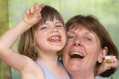 Grandma with her granddaughter Stock Photos