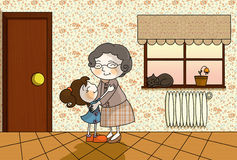Grandma home. Illustration about an old grandmother and her little grandchild girl in the old lady house with a cat sleeping on the window Royalty Free Stock Images