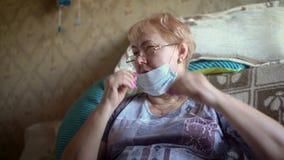 Grandma at home during the COVID-19 coronovirus pandemic.