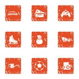 Grandma house icons set, grunge style. Grandma house icons set. Grunge set of 9 grandma house vector icons for web isolated on white background stock illustration