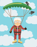 Grandma jumping with a parachute Stock Images