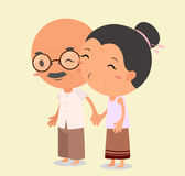 Grandma kissing Grandpa. Elderly couple in love. Eps10 Illustration vector illustration