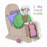 Old woman. Grandma with knitting, drawing of handmade Royalty Free Stock Image