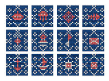 Grandma knitting pattern set for Ugly Sweater Royalty Free Stock Photo