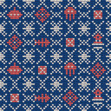 Grandma knitting pattern for Ugly Sweater. Grandma  knitting seamless pattern for Ugly Sweater. Sea theme Stock Photos
