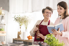 Grandma looking at her granddaughter. Smiling grandma looking at her granddaughter holding a cookbook in a kitchen royalty free stock photo